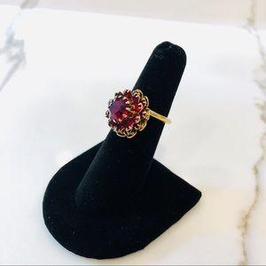 Vtg Signed Sarah Coventry Red Glass Ring